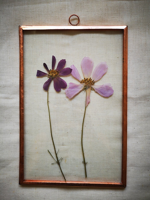 Copper frame with purple & pink flowers