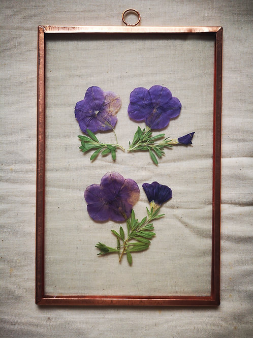 Handmade Copper Frame with purple flowers