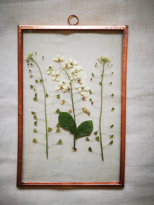 Copper frame with small white flowers