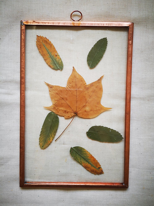 Handmade botanical copper frame with autumn leaves