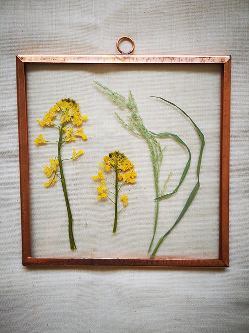 Copper frame with yellow flowers & grass