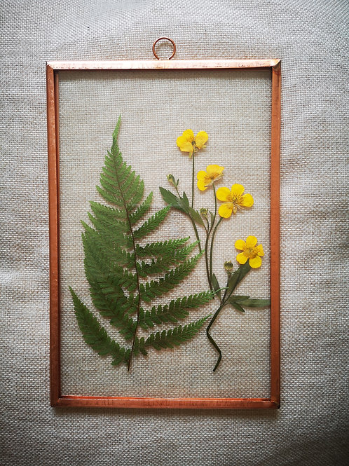 Copper frame with fern & yellow flowers