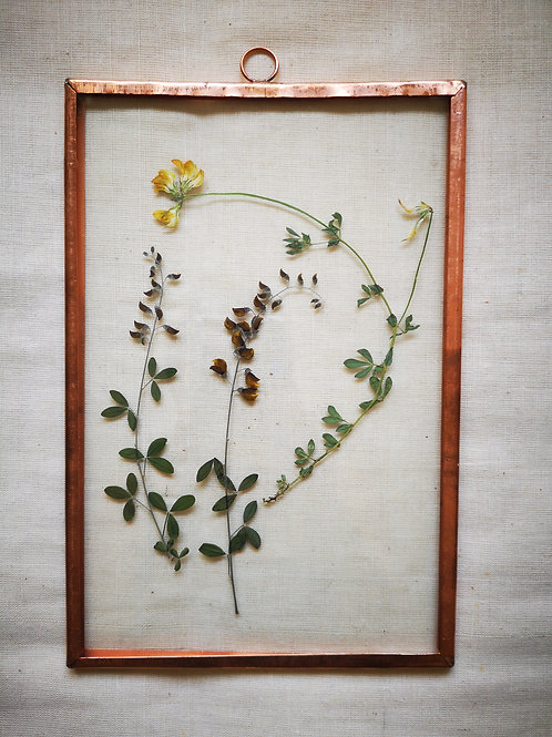 Copper frame with yellow & brown flowers