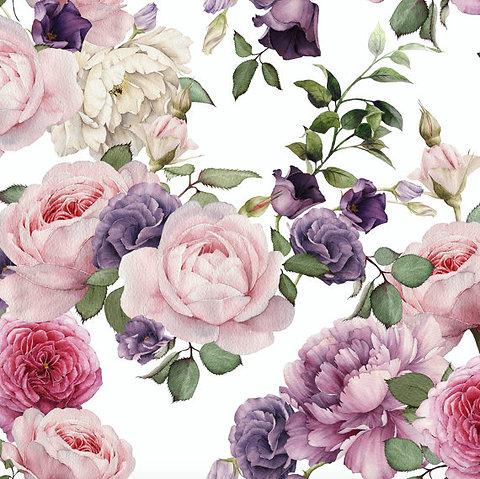 Watercolor Floral Wallpaper Pink Roses Pront
