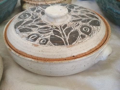 White Ceramic Bowl with Decorative Lid
