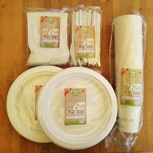 Set of Biodegradable Disposable Tableware