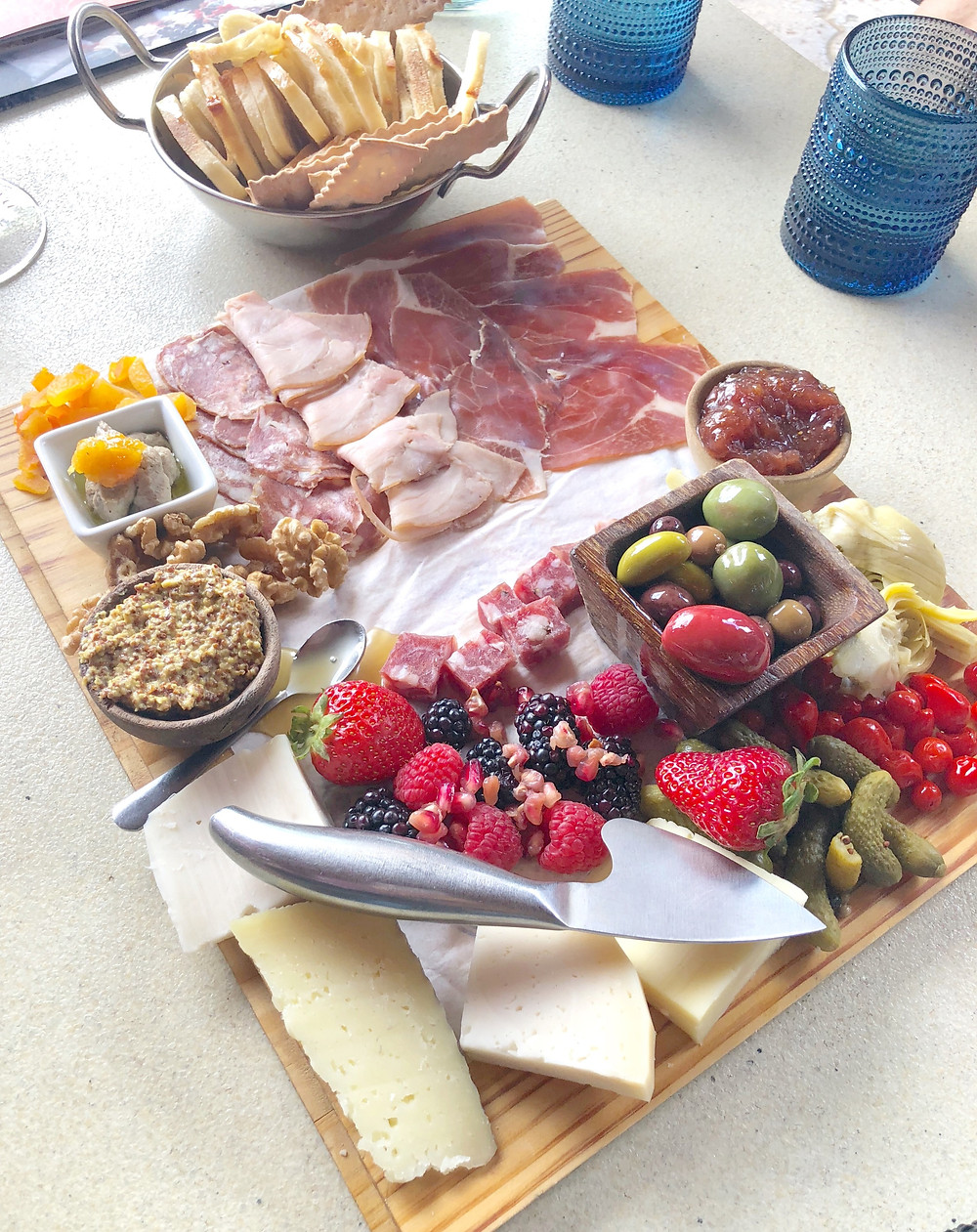 meat and cheese board, snack tray, wine and cheese