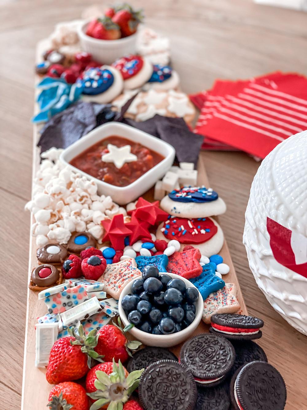 Patriotic snack board. Fourth of July festivities.  styling my season. #redwhiteandblue #craftymama