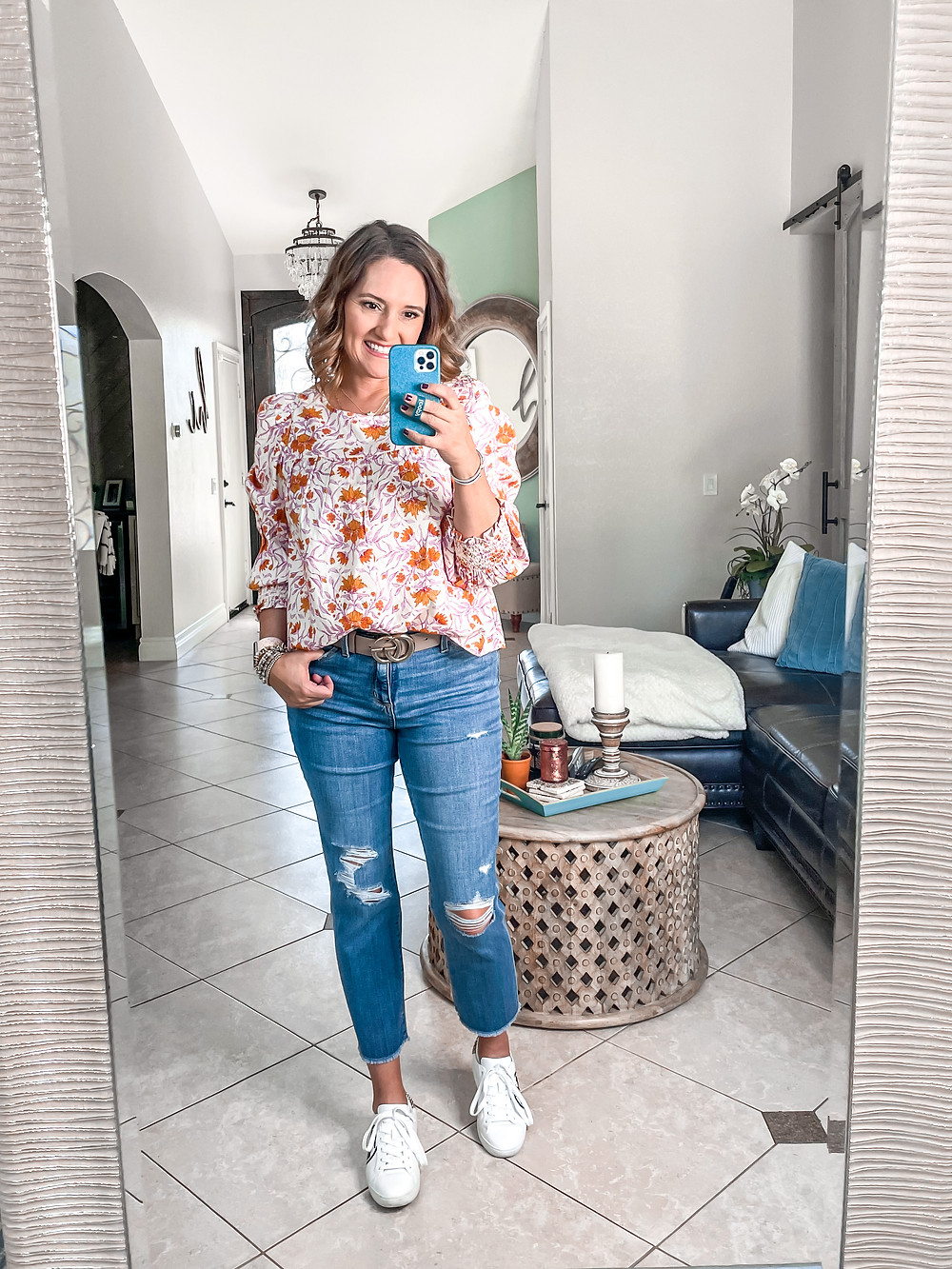 how to style a Gucci belt. teacher outfit ideas.  spring floral top. floral print. statement sleeves. spring try on haul. Target haul. Spring try on. Target try on. 4loveanddreams. vacation looks. Target fashion.