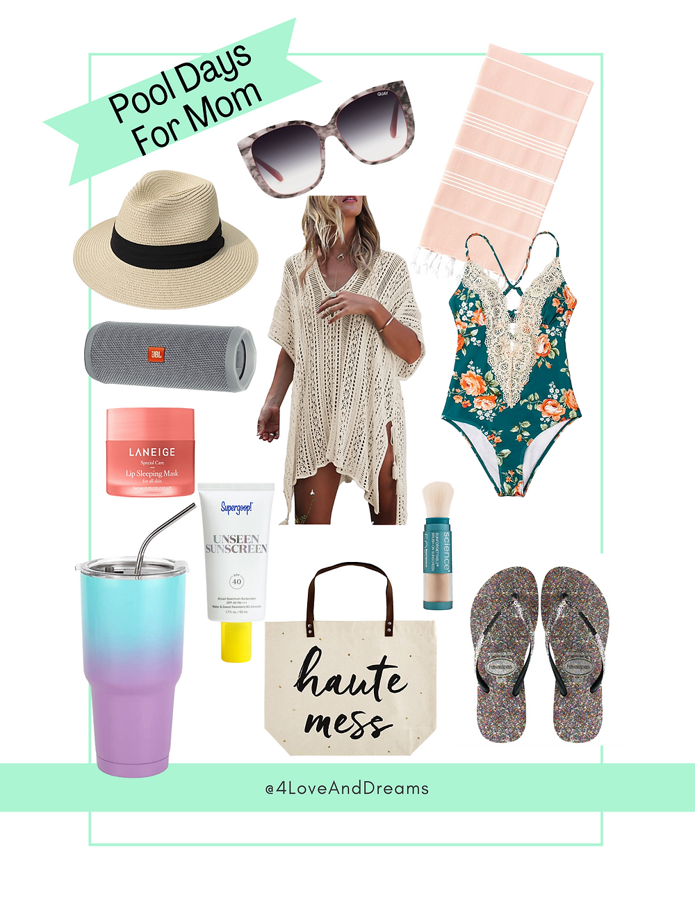 mom summer days.  pool day must haves. beach tote. swimsuit for moms.  best summer hat.
