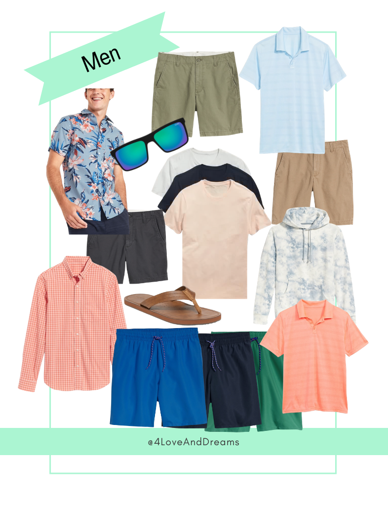 mens fashion. affordable fashion for men. vacation looks for men.  family vacation