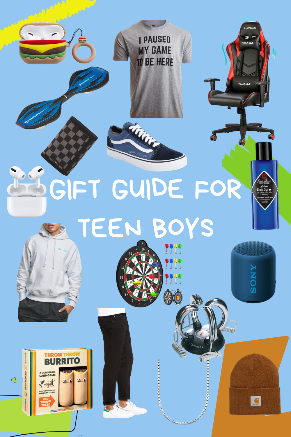 teen boy gift guide. gift guide for teens. holiday gift guide for teen boys. vans. gaming chair.