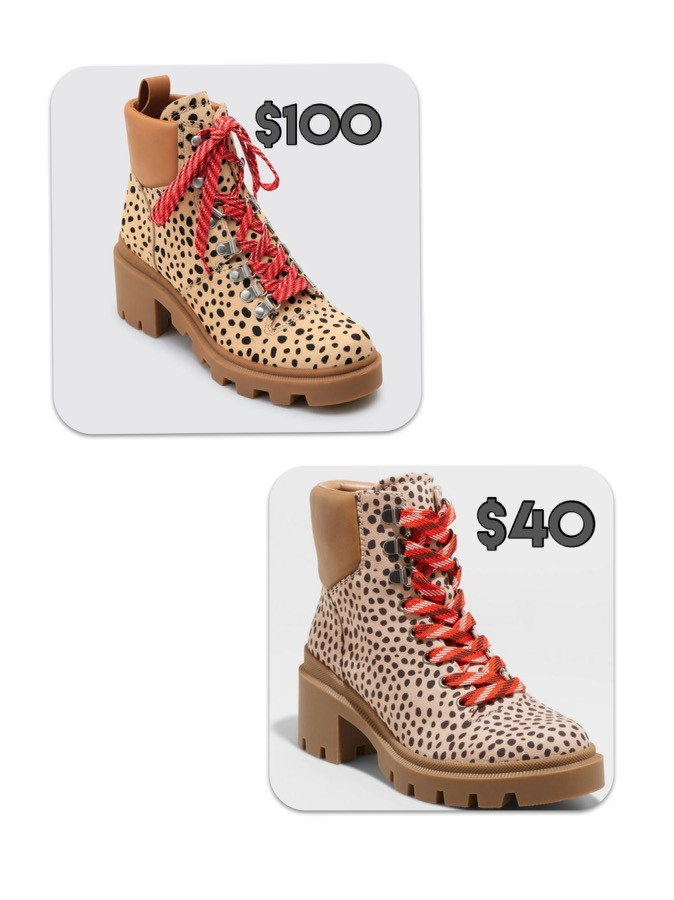 womens boots. leopard boots. designer dupe. splurge vs steal