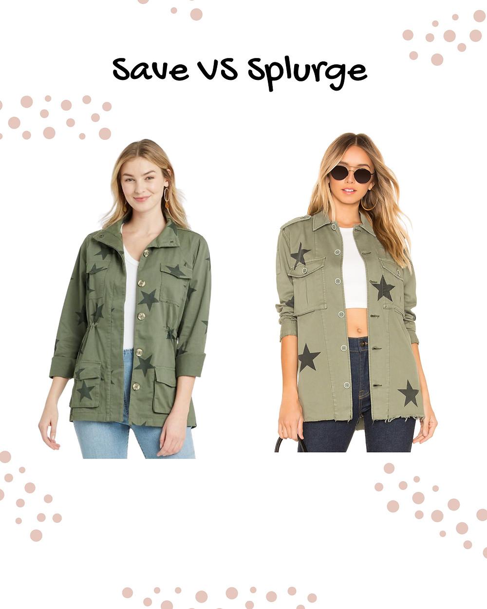 save vs splurge  army jacket. military jacket. stars jacket