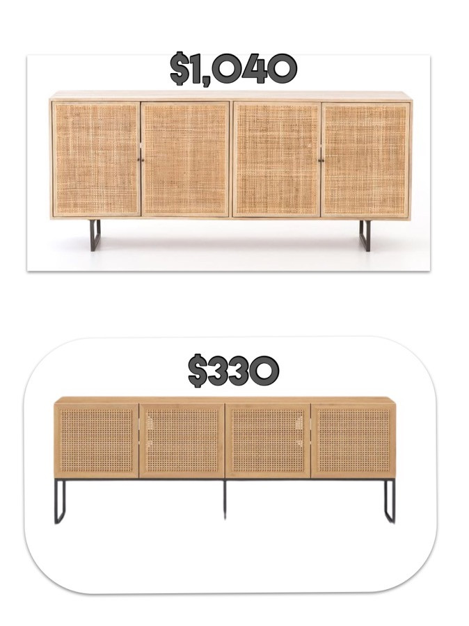 spend less. splurge vs dupe. console table. bamboo table