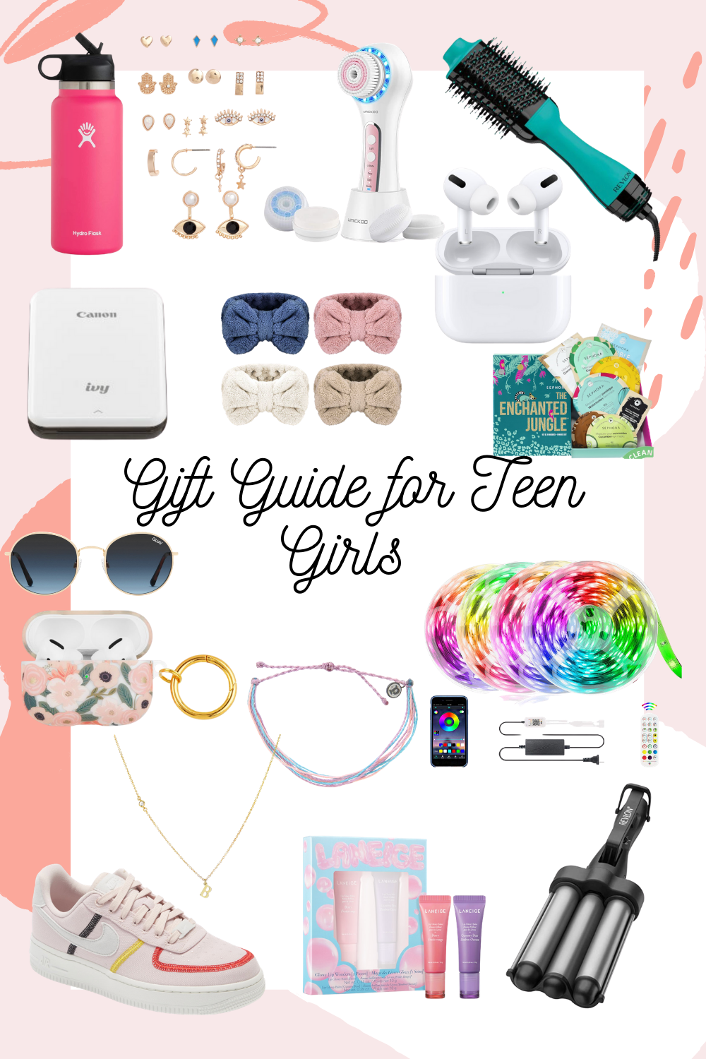 gift guide for teen girls. teenager gifts. Christmas gifts. gift guide. teen gifts. holiday gift guide. polaroid .  led lights.  gifts for girls.