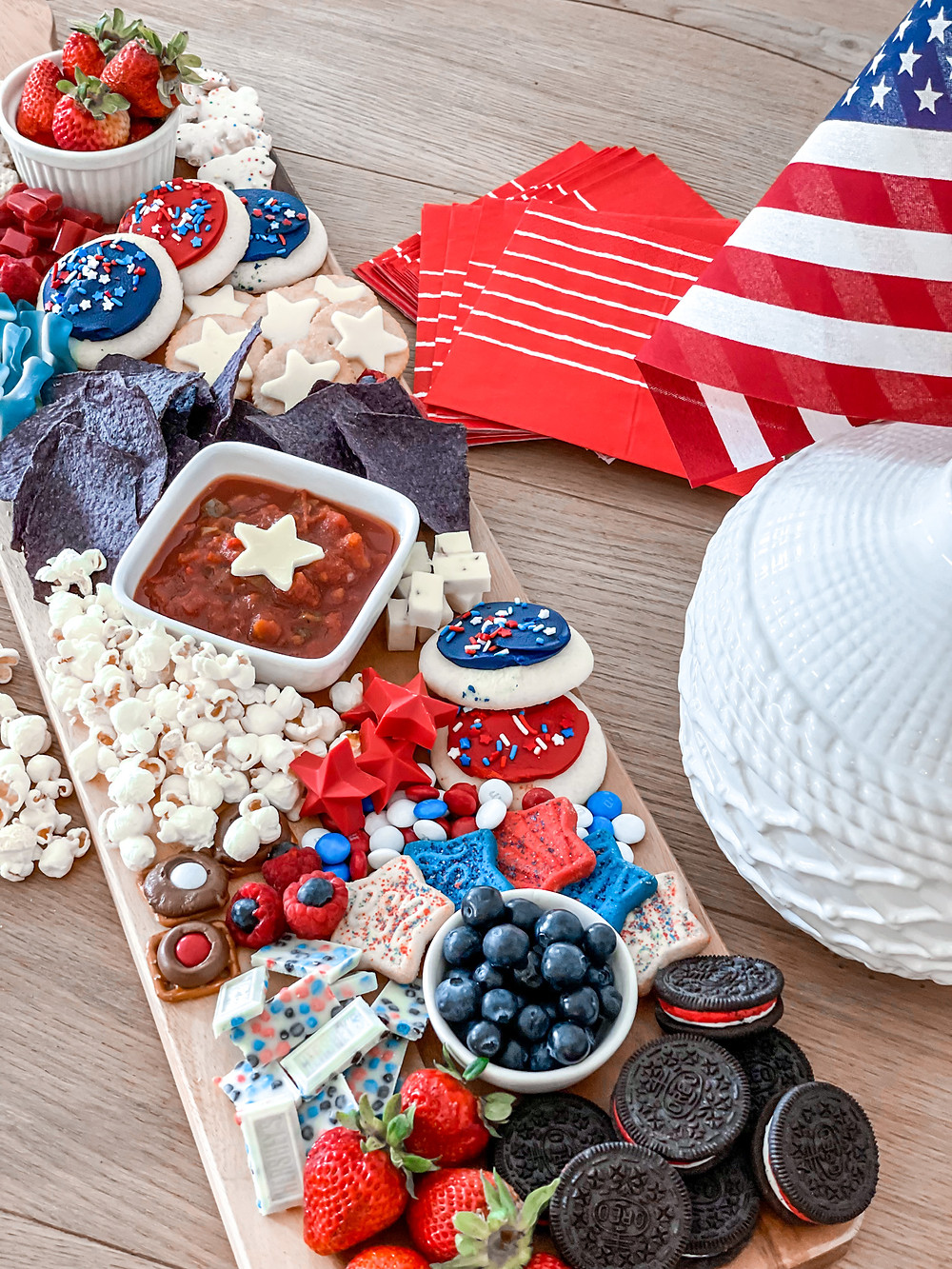 4th of July charcuterie board. Patriotic snack board. snack board. summer charcuterie better homes and gardens. 4th of July food.