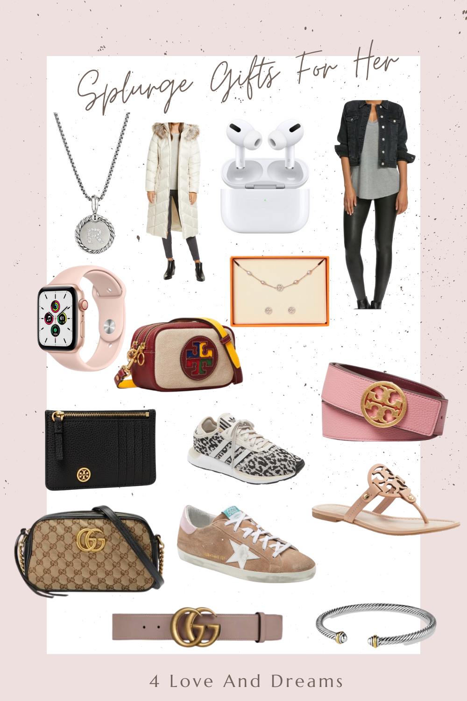 designer gift guide. gifts for women. splurge gift guide