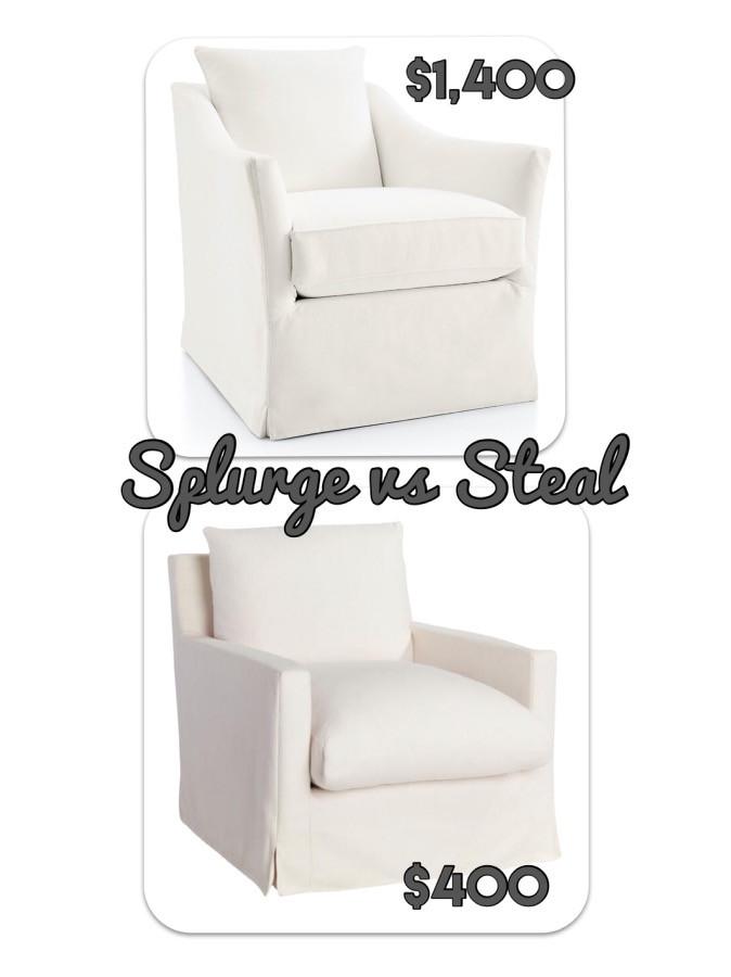 home decor. swivel chair. white furniture.  splurge vs steal. arm chair. crate and barrel
