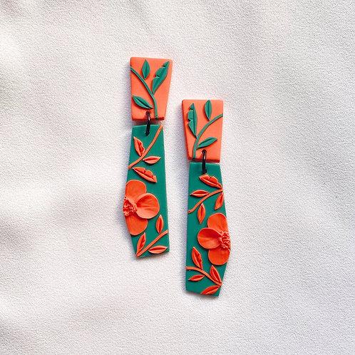 Peach/ Emerald Poppies - Dali