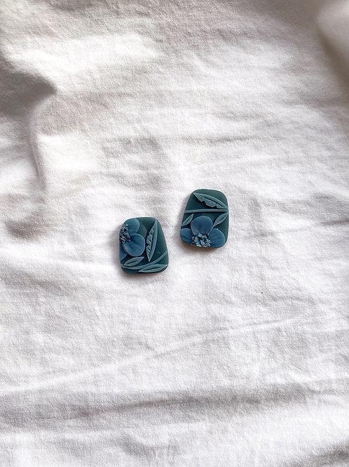 Preorder: Dark Jade Poppies - Trapezium Studs