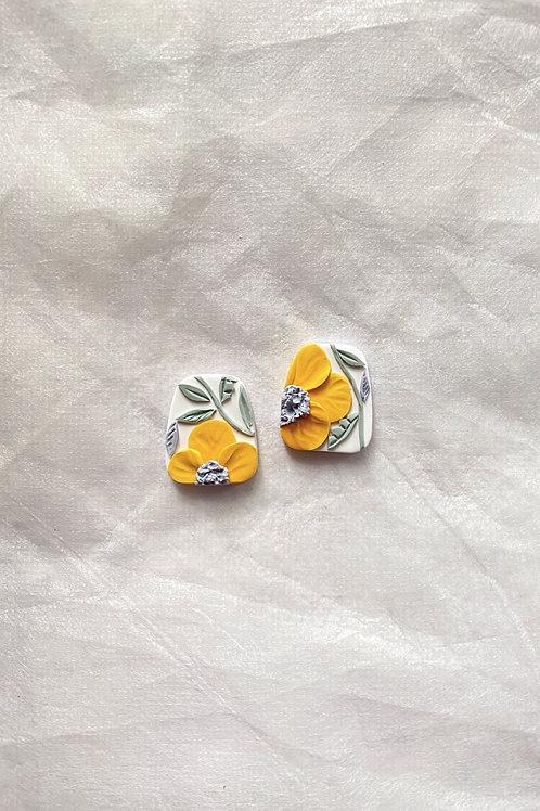 Made-to-order: Sunshine Poppies - Trapezium studs