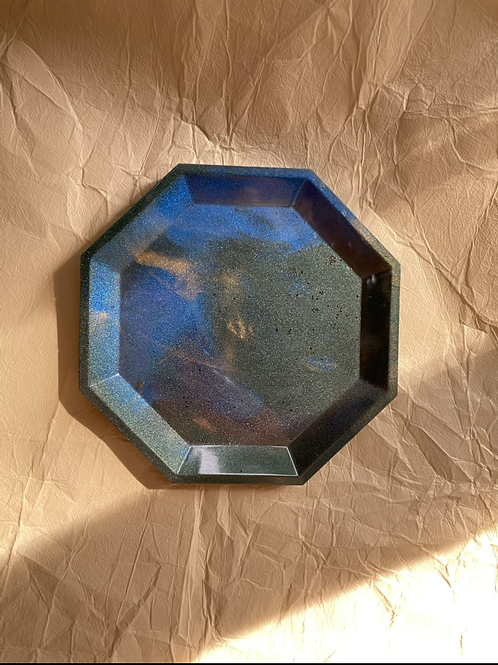 Trinket Tray - Forest blue, gold marble (Seconds Sale)