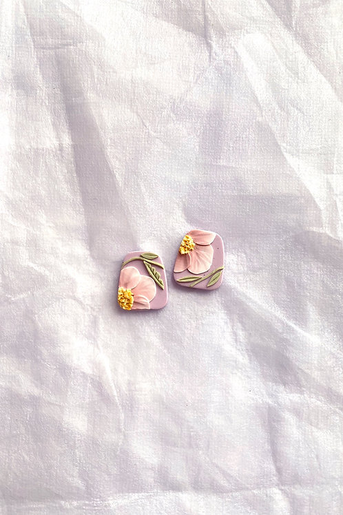 Made-to-order: Lilac Blush Poppies - Trapezium Studs