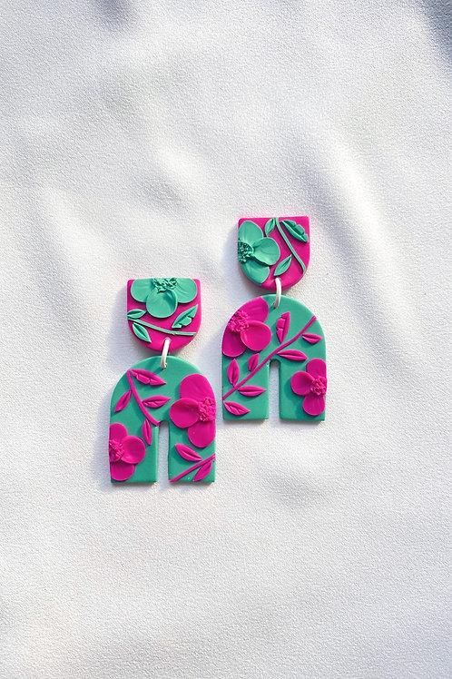 Fuchsia/ Green Poppies - Umbra Maxi
