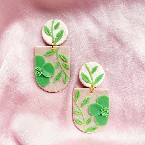 Jade Poppies on Satin - Frida Maxi (reduced price)