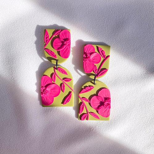 Fuchsia/Kiwi Poppies - Allegro