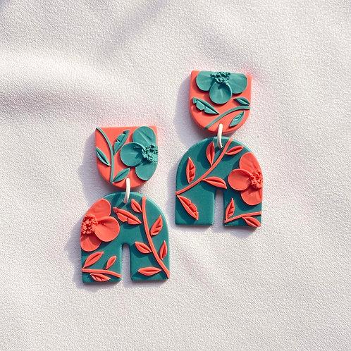 Peach/ Emerald Poppies - Umbra
