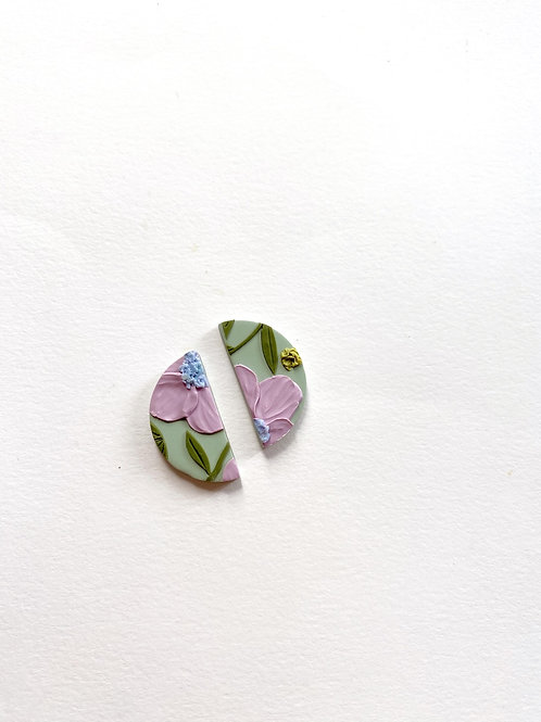 Lavender Poppies - Mini half moon studs