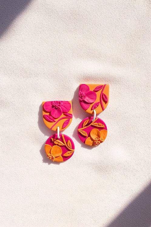 Fuchsia/ Orange  Poppies - Mini Maya