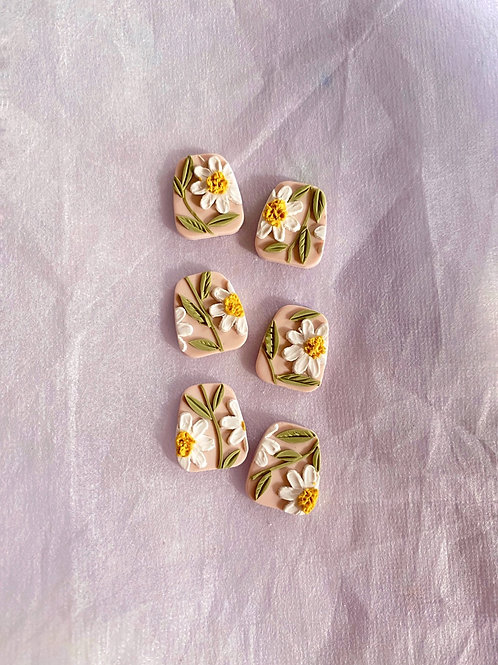 Daisies on Pink - Trapezium Studs