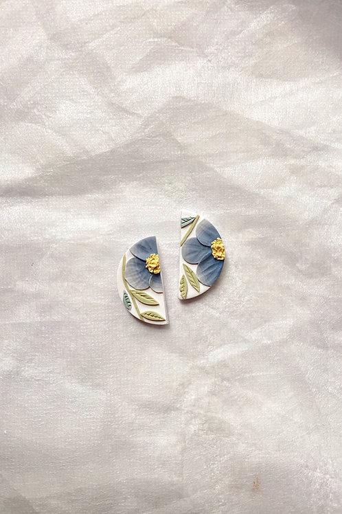 Powder Blue Poppies - Mini Half Moon Studs