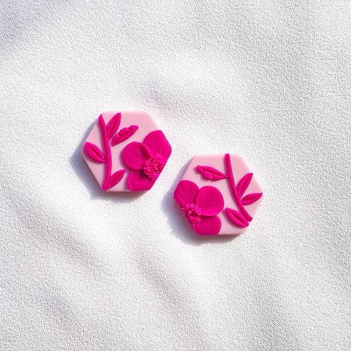 Pink on pink - Hexagon studs