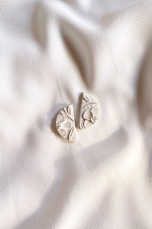 Alabaster Poppies - Mini Half Moon studs