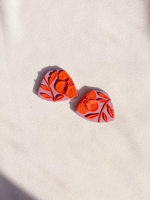 Orange Poppies on Dusty Lilac -  Midi Leia studs
