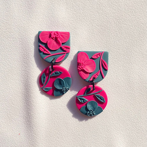 Fuchsia/ Teal  Poppies - Mini Maya