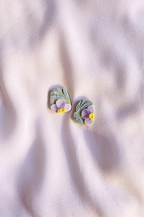 Periwinkle Poppies - Trapezium studs