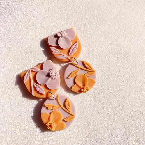 Lilac/Orange Poppies - Mini Maya