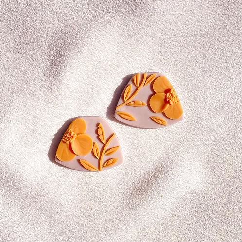 Lilac/ Orange  Poppies - Midi Leia studs