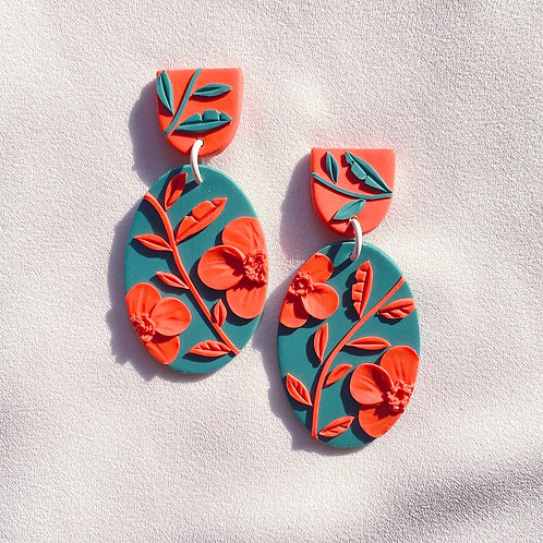 Peach/ Emerald Poppies - Miro