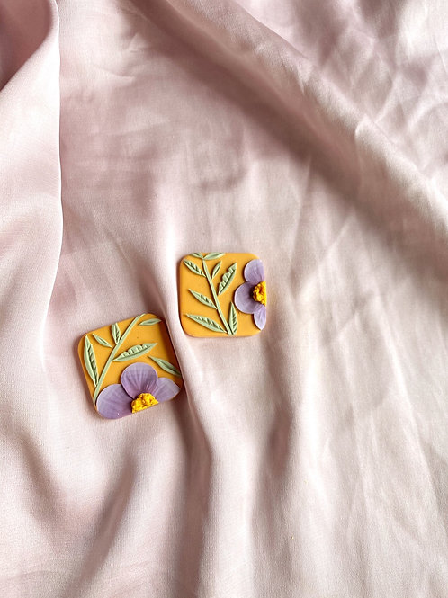 Lilac Poppies on Orange - Large Square studs