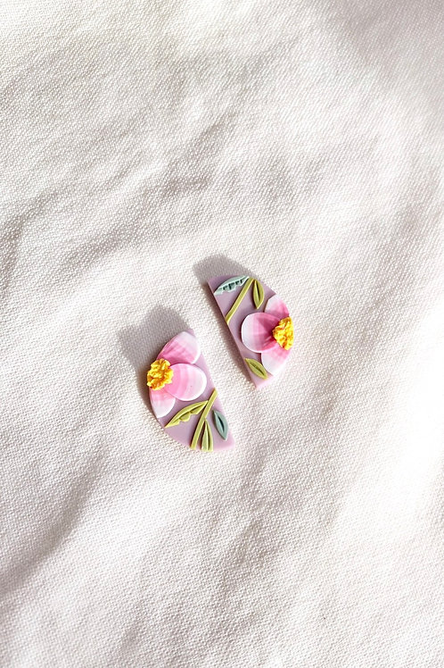 Pink Poppies - Mini Half Moon studs