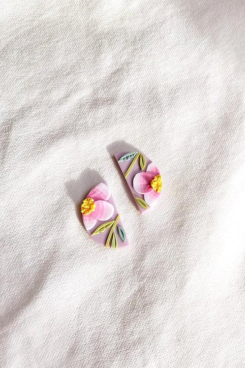 Preorder: Pink Poppies - Mini Half Moon studs