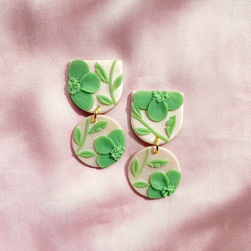Jade Poppies on Satin - Mini Maya