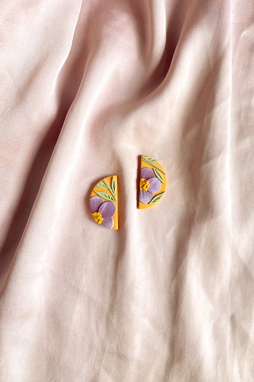 Lilac Poppies on Orange - Mini half moon studs