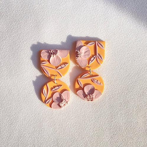 Pink Poppies on Orange - Mini Maya